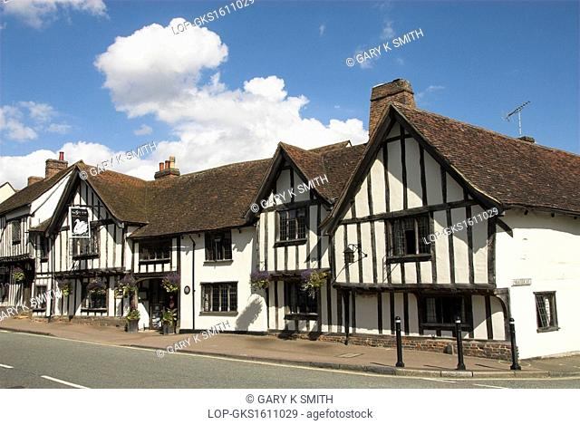England, Suffolk, Lavenham. The Swan Hotel, an English country hotel in a half-timbered medieval building dating back to the 15th century