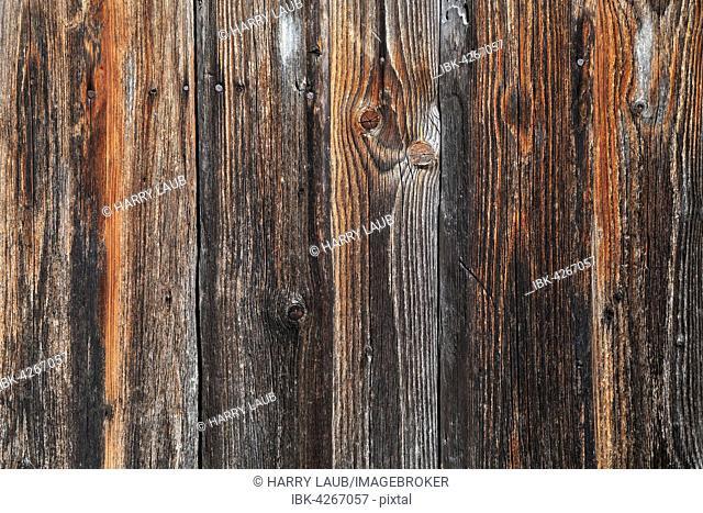 Old wooden boards on a barn wall, Allgäu, Bavaria, Germany