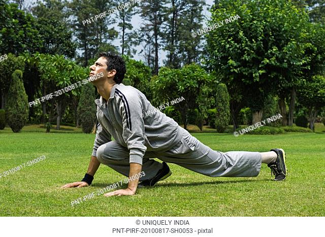 Man exercising in a park