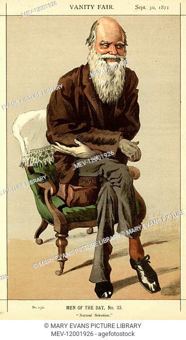 Caricature of the naturalist Charles Darwin (1809-1882) in Vanity Fair Magazine, 1871