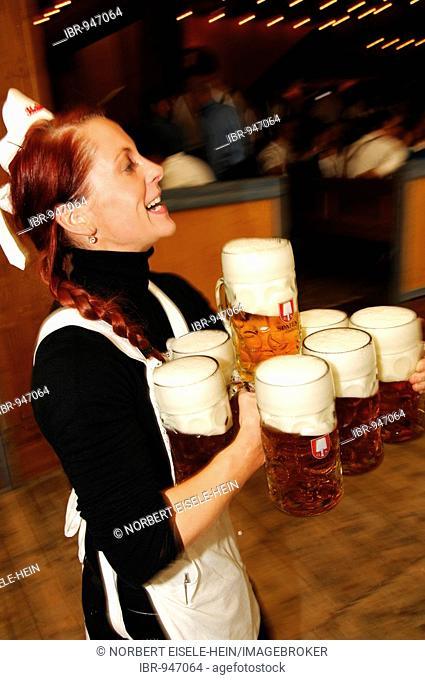 Waitress, Wies'n, October fest, Munich, Bavaria, Germany, Europe