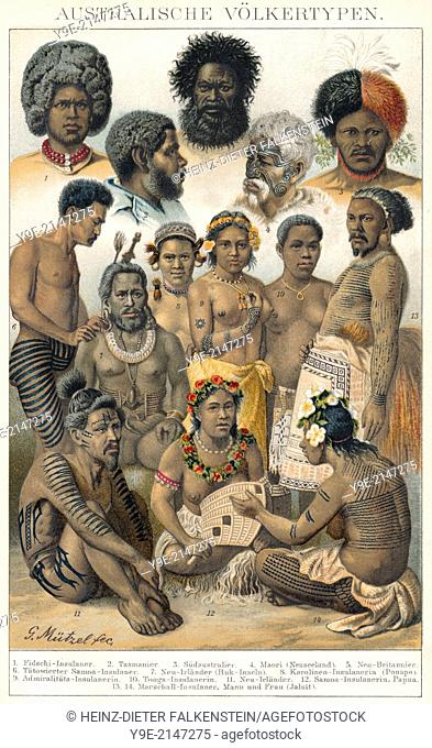 Historical illustration, 19th Century, ethnic groups of Oceania, Indigenous Australians, Australia