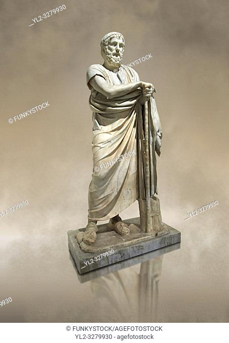 Roman marble sculpture of Homer from the rectangular peristyle of the Villa of the Papyri in Herculaneum, Museum of Archaeology, Italy