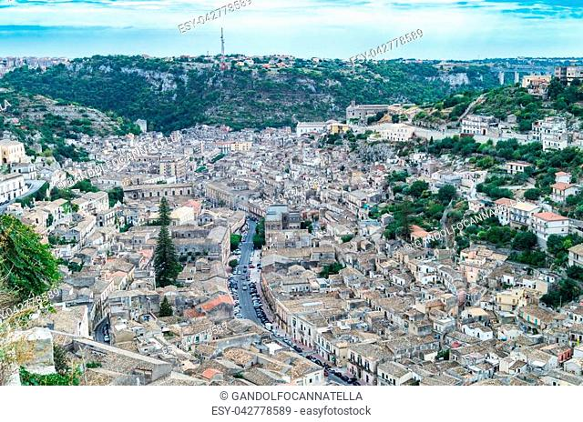 View of houses in old town Modica, Sicily, Italy