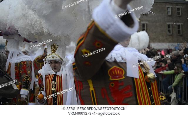 Belgium, carnaval of Binche. UNESCO World Heritage Parade Festival. Belgium, Walloon Municipality, province of Hainaut, village of Binche
