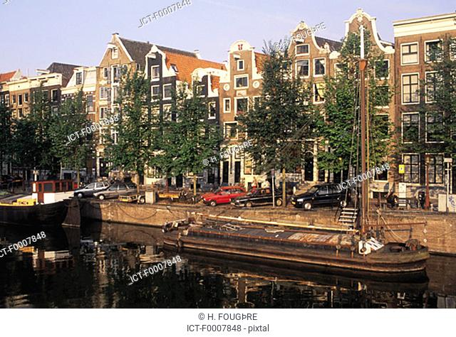The Netherlands, Amsterdam, houses by canal
