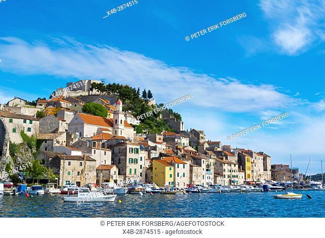 St Michaels fortress on top of hill, Dolac neighbourhood, Sibenik, Dalmatia, Croatia