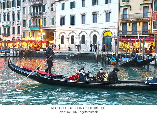 Canal Grande or Gran Canal by dusk on January 23, 2016 in Venice, Italy