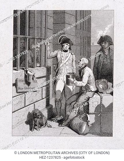'A whistling shop : Tom & Jerry visiting Logic, on board the Fleet'. A scene at the Fleet Prison, London, 1821 showing characters smoking