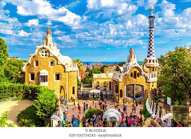 BARCELONA, SPAIN - JUNE 11 : Park Guell by architect Gaudi in a summer day on June 11, 2014 in Barcelona, Spain