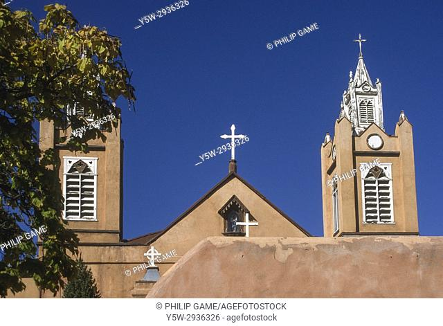 San Felipe de Neri, the mission church at the heart of Old Town, was first built in 1706, Albuquerque, New Mexico, USA