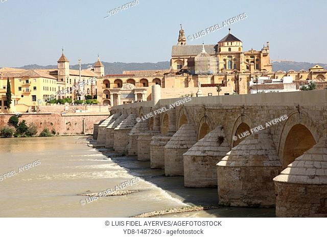 Puente Romano and panoramic view of the city of Cordoba, Andalusia, Spain