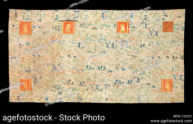 Buddhist Vestment (Kesa) with Figural Squares. Period: Edo period (1615-1868); Date: 18th century; Culture: Japan; Medium: Body of the kesa: silk lampas;...