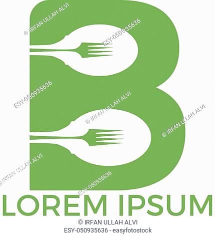 Spoon with letter B vector logo concept illustration