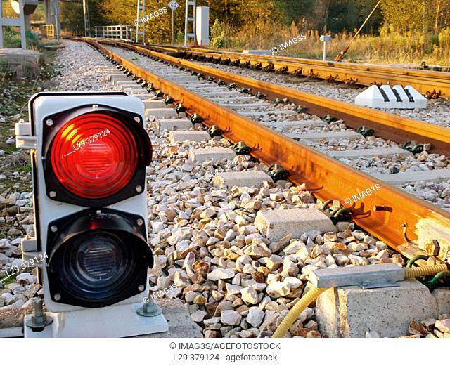 Red light. FEVE (Spanish Narrow Gauge Line) Santander-Oviedo, near Lieres. Siero. Asturias. Spain