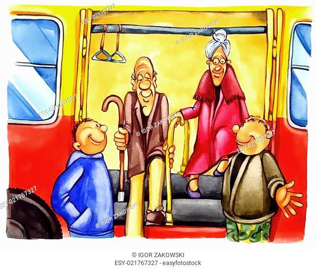 kind boys on bus stop