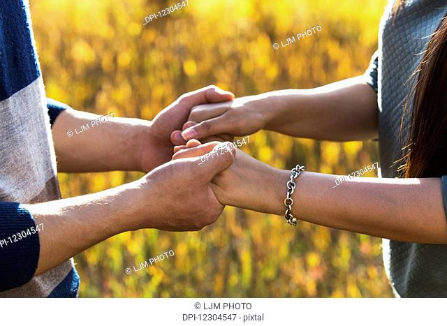 A young couple enjoying quality time together outdoors in a park in autumn and holding hands in the warmth of the sunlight during the early evening; Edmonton
