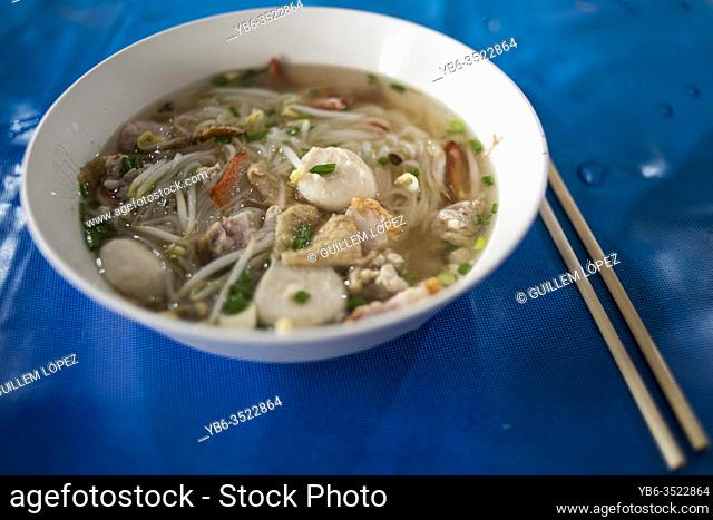 Thai Style Spicy noodle soup bowl, Bangkok, Thailand