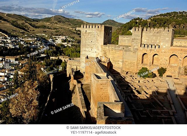 Torre de la Vela watchtower at Alhambra, a 14th-century palace, overlooking the city of Albayzin, Granada, Andalusia, Spain