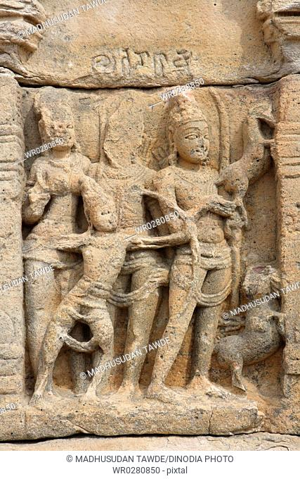 Sculpture at Papanatha Temple , Ramayana Panel , Pattadakal , UNESCO World Heritage Site , Built In 800 A.D. , Bagalkot , Karnataka , India