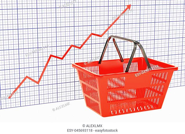 Shopping basket with growing chart, 3D rendering isolated on white background