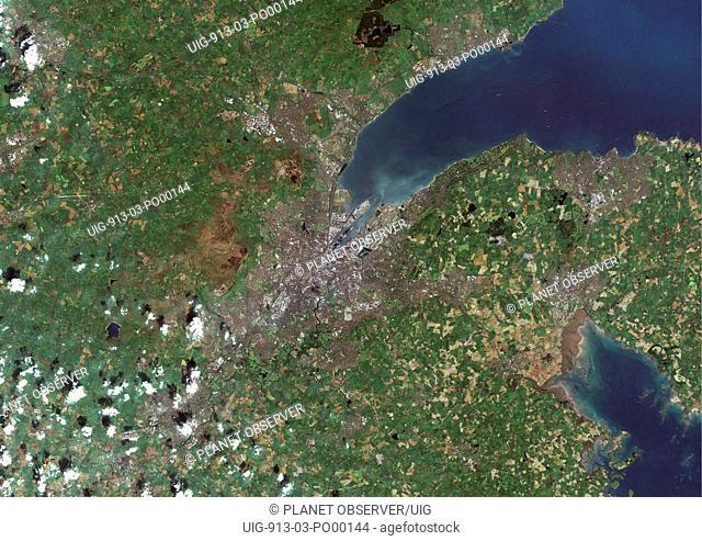 Belfast, Ireland, True Colour Satellite Image. Belfast, Northern Ireland, UK. True colour satellite image of Belfast, capital city of Northern Ireland