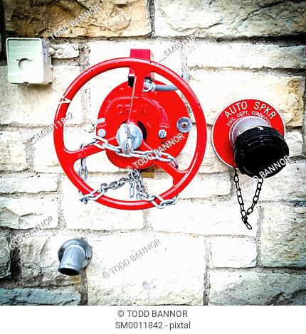 Fire department standpipe, water connection on building