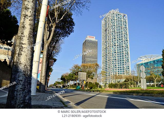 Hotel Arts Barcelona and Torre Mapfre. Barcelona, Catalonia, Spain