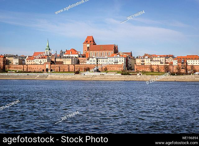 Old Town in Torun city over Vistula River, Kuyavian Pomeranian Voivodeship of Poland, view with Cathedral and Holy Spirit church tower