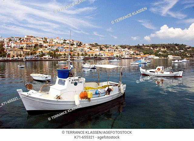 A pretty little fishing village with colorful boats at Koroni, Messinia, Pelopenesse,  Greece