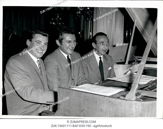 Nov. 11, 1960 - Recording Stars at Variety Club's 'Golden Disc' Luncheon. Many Top British and American recording stars attended today's Variety Club's annual...