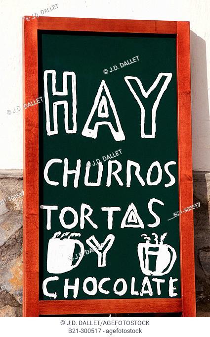 Breakfast sign at bar. Málaga. Spain