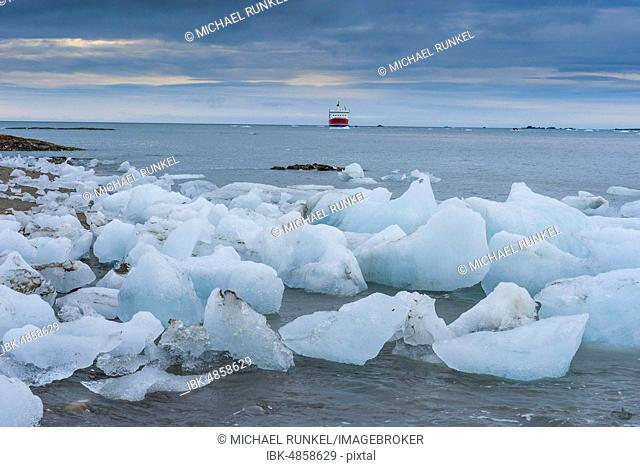 ice floes from glacier at coast, Hornsund, Svalbard, Arctic, Norway