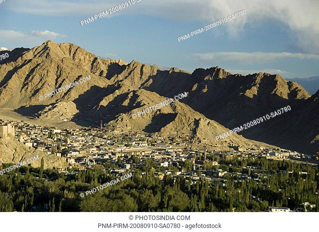 Town in front of mountain ranges, Himalayas, Leh, Ladakh, Jammu and Kashmir, India