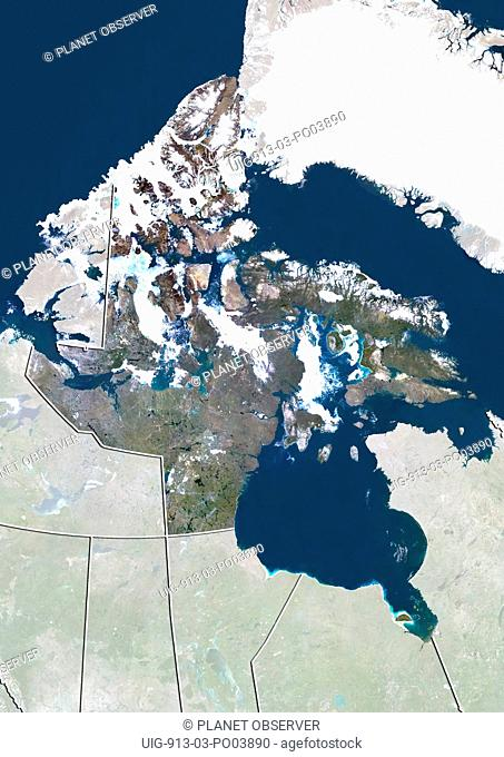 Satellite view of Nunavut, Canada. This image was compiled from data acquired by LANDSAT 5 & 7 satellites