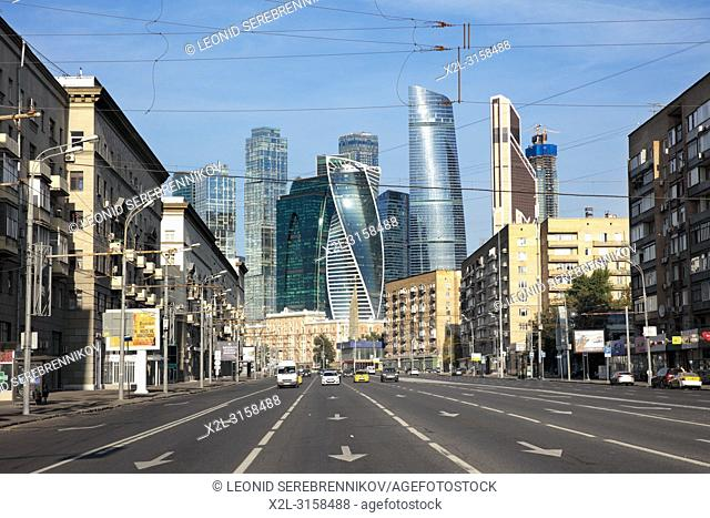 View of Dorogomilovskaya street and modern high-rise buildings of Moscow International Business Centre (MIBC). Moscow, Russia