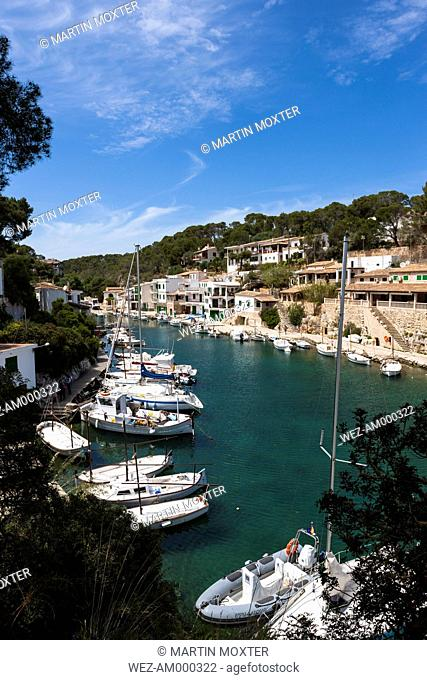 Spain, Majorca, View of Fishing boats and harbour of Cala Figuera