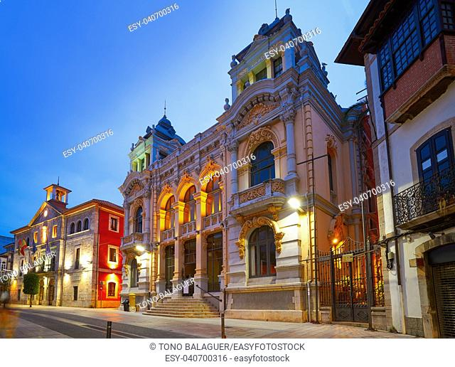 Llanes village City town hall sunset in Asturias of Spain