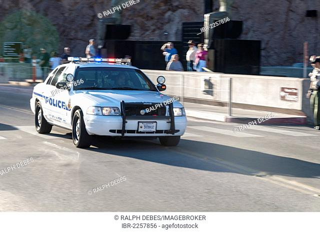 Police car in action, Hoover Dam, Nevada, USA
