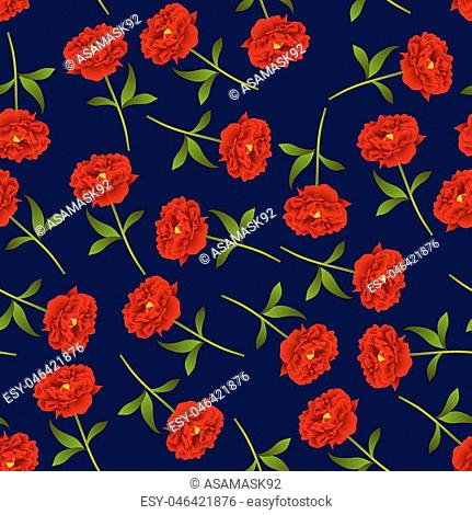 Red Peony Seamless on Indigo Blue Background. Vector Illustration