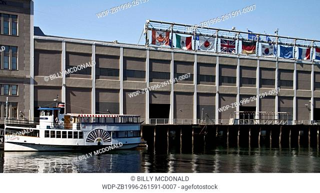 Paddlewheel Tour Boat Near The Convention Center At The South Boston Waterfront ,Boston, Massachusetts, USA