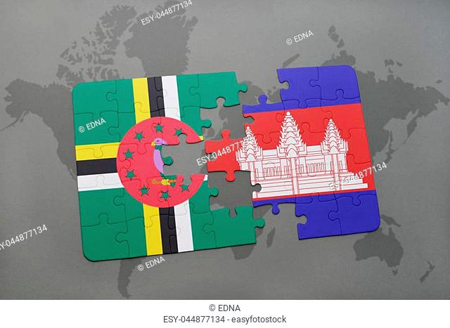 puzzle with the national flag of dominica and cambodia on a world map background. 3D illustration