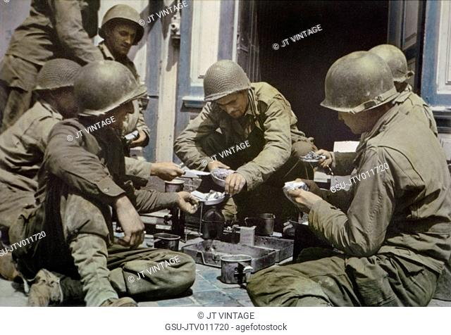 U.S. Army Soldiers eating from Mess Kits, Normandy, France, June 1944