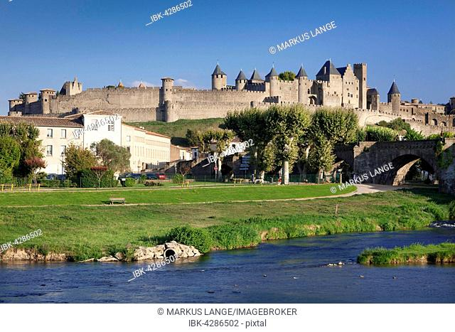 La Cite, medieval fortress city, Carcassonne, UNESCO World Heritage Site, Languedoc-Roussillon, South of France, France