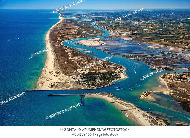 Tavira Canal, Tavira island and Saltpans of Tavira. Ria Formosa, natural park. Faro district. Algarve. Portugal