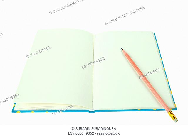 Blank notebook with pencil isolated on white background