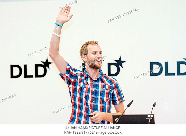 BAYREUTH/GERMANY - JUNE 21: Dominic Eskofier (Nvidia) gestures while speaking on the stage during the DLD Campus event at the University of Bayreuth on June...