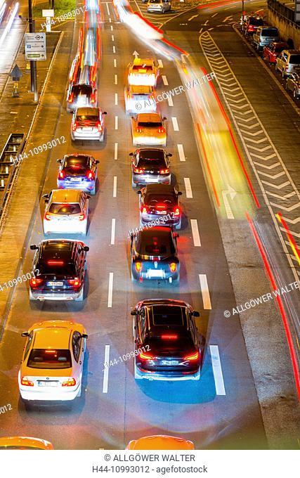 Cars, Automobiles, rush-hour, traffic, blur, brake lights, Germany, Europe, automobiles, Cologne, night, North Rhine-Westphalia, commuter, Rhineland, red