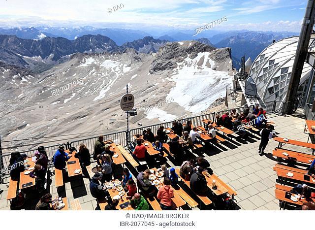Highest beer garden in Germany with Munich House on Mt Zugspitze, Wetterstein range, Bavaria, Germany, Europe
