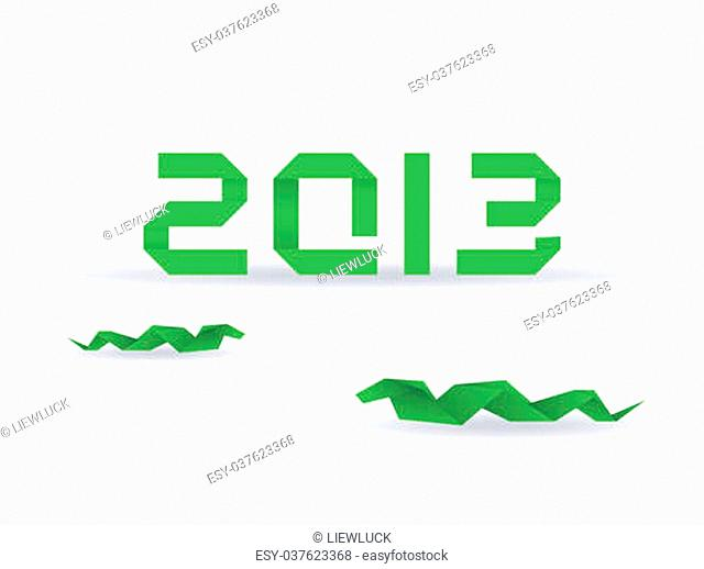 Paper origami snake with 2013 new year